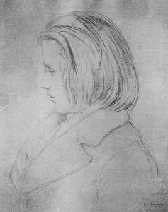 1853 - Der junge Johannes Brahms, nach einer Silberstiftzeichnung von Jean-Joseph-Bonaventure Laurens, entstanden im Hause Robert Schumanns auf der Bilkerstr. 1035 (heute 15).