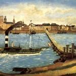 1854 - Pontonbrücke von der sich Robert Schumann am 27. 2. 1854 (Rosenmontag) in den Rhein stürzte. Ölgemälde der Schiffsbrücke von dem Düsseldorfer Maler Evers