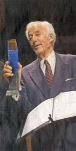 Udo van Meeteren, Ehrenbürger Düsseldorfs, übernimmt den Deutschen Stifterpreis in der Tonhalle Düsseldorf.