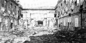 Der Kaisersaal der Tonhalle 1943 nach Krieg und Zerstörung.