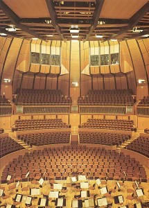 Eröffnung des umgebauten Planetariums (Rheinhalle) zum Konzertsaal. Blick vom Chorpodium in den Saal.
