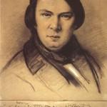 """Robert Schumann in einer vom 14. bis 16. 10. 1853 entstandenen Zeichnung von Laurens mit einer Widmung Schumanns an den Zeichner mit den Anfangstakten aus dem 3. Satz von Schumanns """"Trio d-Moll, op. 63""""."""
