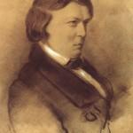 Robert Schumann Kolorierte, mit Kreide weiss gehöhte Zeichnung ausdem Oktober 1853 von Laurens (in Düsseldorf entstanden).