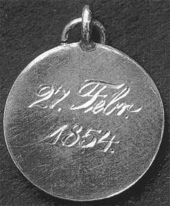 1854 - Belobigungsmedaille für den Brückenmeister Joseph Jüngermann (Robert-Schumann-Haus Zwickau). Er rettete Schumann aus dem Rhein am 27. 2. 1854