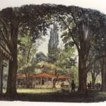 Düsseldorf. Der Beckersche Garten mit Pavillon und Eingang zum Saal, kolorierter Holzstich aus dem 19. Jahrhundert Heinrich-Heine-Institut Düsseldorf