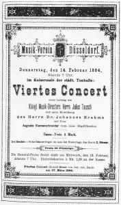 1884: Plakat zum Konzert unter der Leitung von Johannes Brahms.