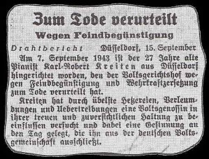 1943 Abdruck des Zeitungsausschnittes mit der Hinrichtungsmeldung über den Düsseldorfer Pianisten Karl-Robert Kreiten vom 15.9.1943.