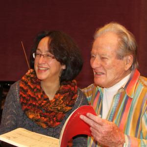 Sir Neville Marriner mit Chordirektorin Marieddy Rossetto, September 2014 in der Tonhalle Düsseldorf