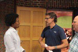 Lorelei Walwyn mit WDR-Redakteur Markus Waerder und Manfred Hill bei der ersten Proben im Hentrich-Saal der Tonhalle