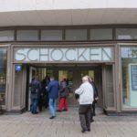 Kaufhaus Schocken: Der Eingang zum großartigen archäologischen Museum Chemnitz, dem SMAC