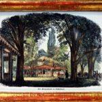 Der Beckersche Garten mit Pavillon und Eingang zum Saal. Kolorierter Holzstich 19. Jh. (Sammlung Alt-Düsseldorf der Familie Conzen)