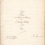 Titelblatt der Partitur von Mendelssohns Konzert für Violine und Orchester, geschrieben von Robert Schumann, der das Werk aus dieser Partitur in Düsseldorf 1850 dirigierte.
