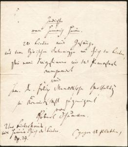 """Robert Schumanns Titelblattentwurf zum """"Liederkreis"""" nach Texten von Heinrich Heine von 1841, der Mendelssohn gewidmet werden sollte."""