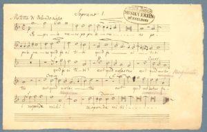 """Felix Mendelssohn Bartholdy: Abschrift der Sopran-Stimme der Motette """"Popule meus"""" von Orlando die Lasso."""