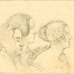 Drei Zuhörerinnen in einem Mendelssohnschen Konzert, Bleistiftskizze von Eduard Steinbrück, 1878