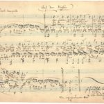 """Felix Mendelssohn Bartholdy: Komposition """"Auf dem Wasser"""", Leipzig Januar 1846 mit Widmung """"Zur freundlichen Erinnerung FMB""""."""