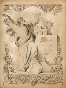 """Titelblatt der """"Elias""""-Erstausgabe 1847, mit einer Zeichnung von Julius Hübner"""