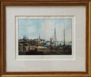 Johann Ludwig Bleuler: An sicht von Düsseldorf, Farblithographie um 1840