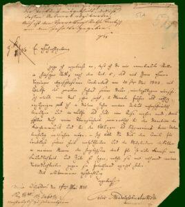 elix Mendelssohn Bartholdy: Brief vom 1. Mai 1835 an Oberbürgermeister von Fuchsius mit der Kündigung seiner Düsseldorfer Tätigkeit.