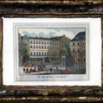 """Marktplatz Düsseldorf mit Gasthof """"Zu den drei Reichskronen"""". 19. Jh. Kolorierter Stahlstich (Sammlung Alt-Düsseldorf der Familie Conzen)"""
