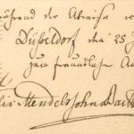 """Widmung von Felix Mendelssohn Bartholdy zur Komposition """"während des Abschieds von Düsseldorf den 25.7.1835 zum freundlichen Andenken Felix Mendelssohn Bartholdy""""."""