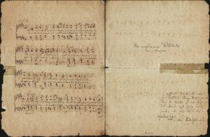 """Felix Mendelssohn Bartholdy: """"Drei vierstimmige Volkslieder"""" nach Heinrich Heine. Noten von Schreiberhand, Titelblatt und Widmung eigenhändig. Düsseldorf, 15. April 1834"""