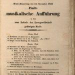 """Konzertzettel des Vereins zur Beförderung der Tonkunst zu einer """"Musikalischen Aufführung"""" vom 13.11.1834 im Lokale der Lesegesellschaft."""