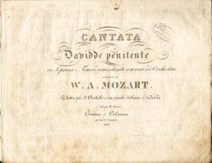 """Musikvereins-Notenarchiv im Heinrich-Heine-Institut: Titelblatt von Mozarts """"Davidde penitente""""."""