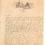 Felix Mendelssohn Bartholdy: Brief vom 27. September 1833 an Friedrich Rosen mit Skizze der Jan-Wellem Reiterstatue auf dem Düsseldorfer Marktplatz