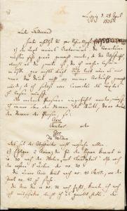 Brief Mendelssohn vom 28.4.1836 1. Seite - an Ferdinand von Woringen