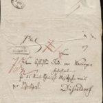 """Briefkuvert Mendelssohns an Ferdinand von Woringen vom 28.4.1836 - Es handelte sich offenbar um eine Schnellpost vielleicht mit dem """"Chor der Heiden"""" aus dem """"Paulus""""."""