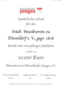 Die Düsseldorfer Jonges unterstützen den Städtischen Musikverein zu Düsseldorf mit einer großzügigen Spende zum 200. Jubiläum.