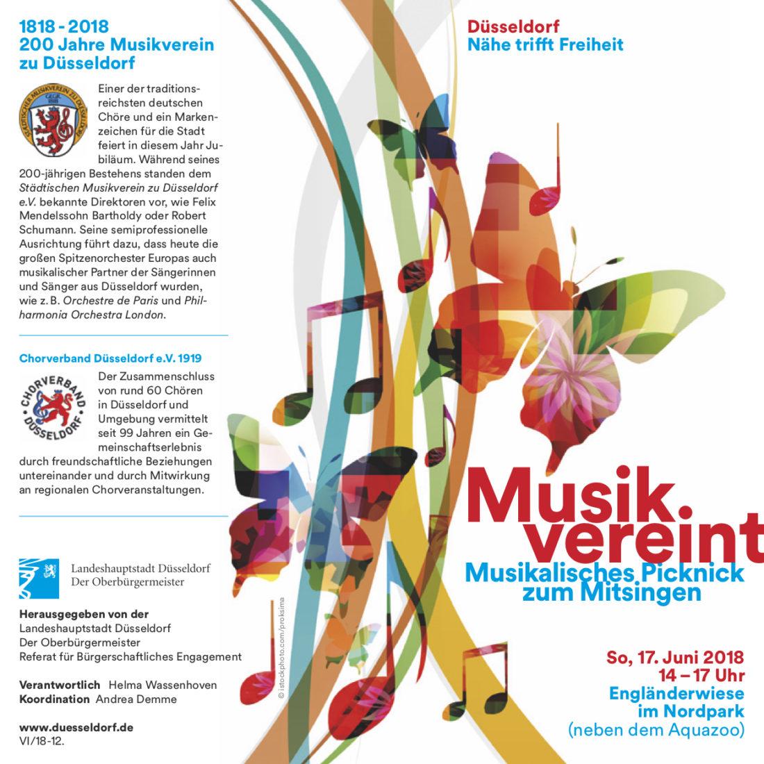 Plakat-Vorderseite zur Open-Air Veranstaltung MusikVereint am 17.6.2018 im Nordpark