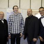 Manfred Hill mit der innovativen Programmierertruppe der Firma Netkotec: Marcel von der Kohle, Marc Steinhoff und Moritz Kanzler v.l.n.r.