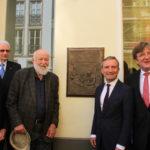 Burgmüller-Tafel: Dr. Edmund Spohr, Ulrich Grenzheuser, OB Thomas Geisel, Bernhard von Kries (v.l.n.r.)