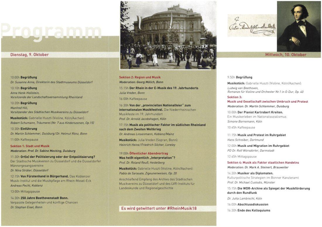 Programm des Symposiums am 9. und 10.10.2018 im Stadtmuseum Düsseldorf
