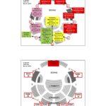 Sitzplan der Tonhalle zum Konzert vom 10.7.. Im Parkett sitzen die Grundschüler*innen und im Rang die Eltern und Gäste. 16 x ist die Tonhalle mit 1.840 Plätzen voll besetzt.