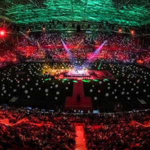 Weihnachtsstimmung in der Merkur-Arena zum Weihnachtssingen 2018 (Foto: RP-Foto Andreas Endermann)