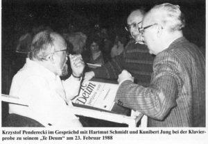 Krzysztof Penderecki bei der Probe mit Kunibert Jung und Prof. Hartmut Schmidt, 21.02.1988